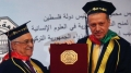 President Erdogan (right) receiving an honorary doctorate degree from Al-Quds University in 2012. But some Turks doubt he ever studied for a proper diploma.
