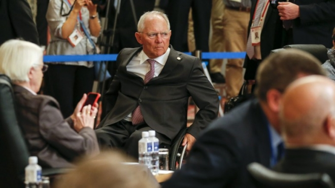 FILE PHOTO: German Federal Minister of Finance Wolfgang Schauble takes his position before the start of the session one meeting of the G7 Finance Ministers and Central Bank Governors meeting at Akiu in Sendai, Miyai Prefecture, northern Japan. EPA, KIMIMASA MAYAMA, POOL